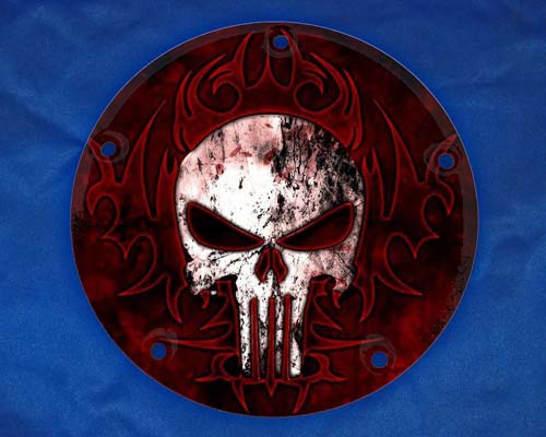 Harley Davidson Timing Cover Punisher Red Tribal Bg Harley